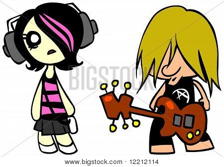 Emo girl and punk guy
