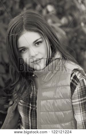 Cute fun and stylish caucasian tween girl black and white
