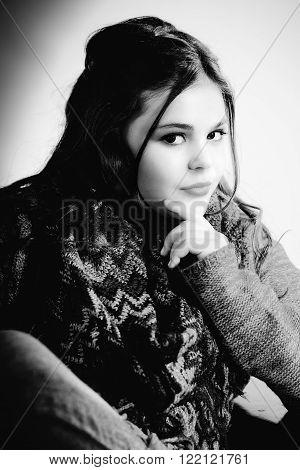 Black and White cute stylish caucasian tween seriously thinking