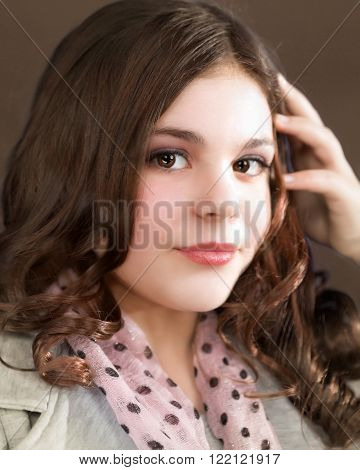 Cute fun and stylish caucasian tween girl head shot