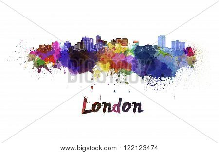 London skyline in watercolor splatters with clipping path