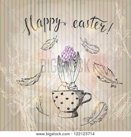 Hand drawn line art pot hyacinth flower and feathers easter lettering. Easter symbol ink drawing on grunge striped background retro style.