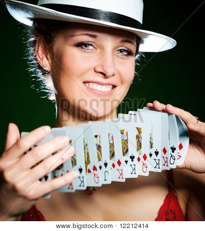 Girl And Playing Cards