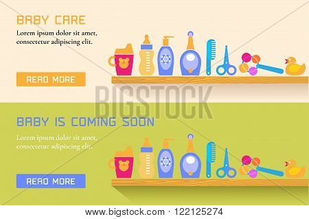 Collection of two banners with baby care, cute vector style. Baby products design element