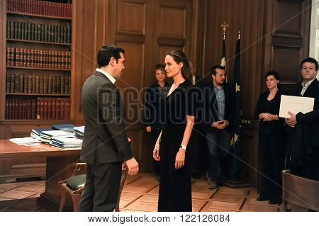 Athens Greece - March 16 2016: Special envoy of the United Nations High Commissioner for Refugees Angelina Jolie (R) during a meeting with Greek Prime Minister Alexis Tsipras