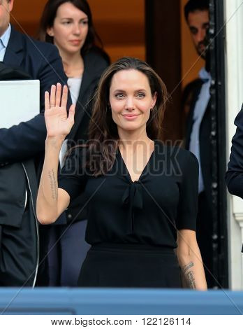 Angelina Jolie Leaves The Greek Prime Minister's Office In Athens Following A Meeting With Greek Pri