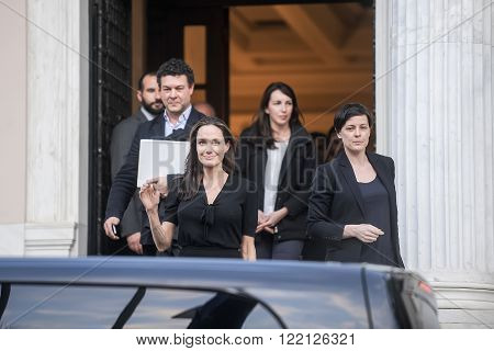 Athens Greece - March 16 2016: Hollywood star and UN refugee agency envoy Angelina Jolie leaves the Greek Prime minister's office in Athens following a meeting with Greek Prime minister
