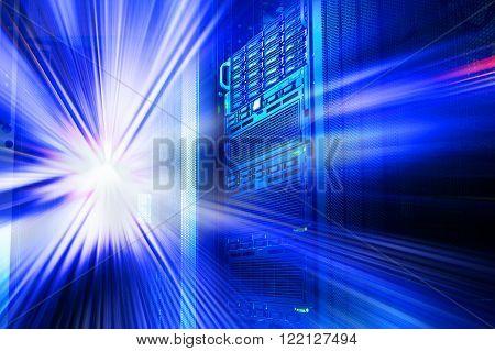 modern mainframe disk storage in data center motion blur tone