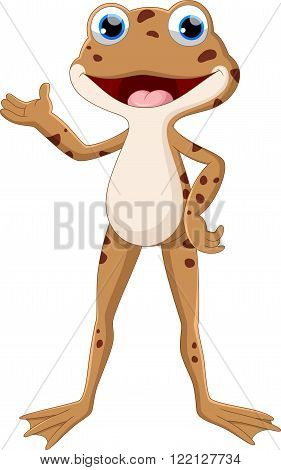 Vector illustration of cute frog presenting isolated on white background