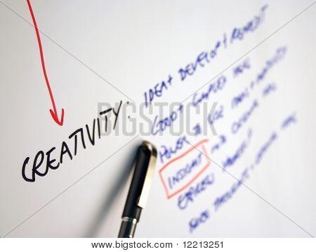 Close-up van schrijven op flip-overbord gericht op 'creativiteit'