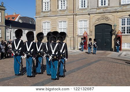 Copenhagen, Denmark - March 16, 2016: Changing ceremony of the royal guards at Amalienborg Palace.