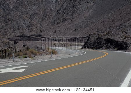Winding road in northernmost area of Argentina