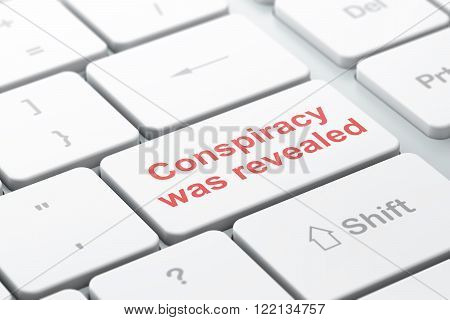 Political concept: Conspiracy Was Revealed on computer keyboard background