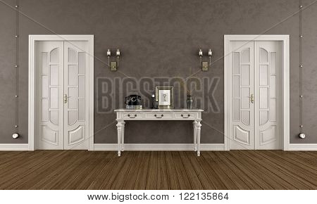Brown classic room with  two closed doors and elegant console table - 3D Rendering