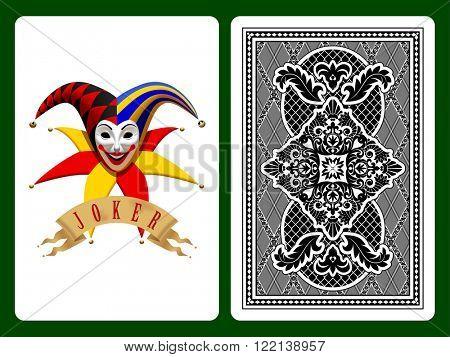 Joker playing card on black and backside background. Original design. Vector illustration