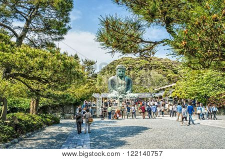 KAMAKURA, JAPAN - MAY 05, 2012 : Daibutsu - Peaople near famous Great Buddha  statue on the grounds of Kotokuin Temple in Kamakura, Japan