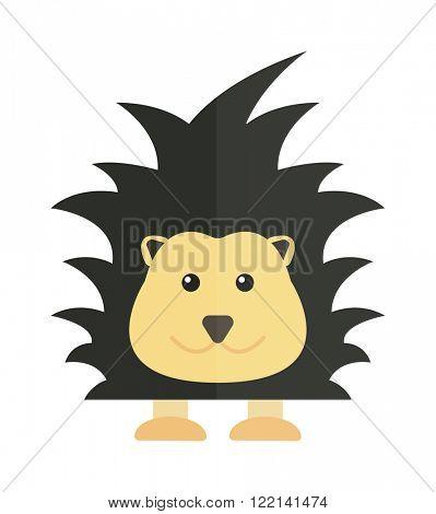 Fun zoo illustration of cute cartoon porcupine australia echidna character and australia porcupine vector. Cute cartoon porcupine australia wildlife echidna mammal animal flat vector illustration.