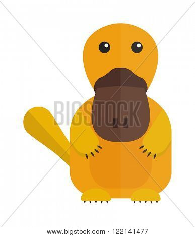 Fun zoo illustration of cute cartoon platypus and australia duckbill character cartoon platypus vector. Cute cartoon platypus australia wildlife mammal animal flat vector illustration.