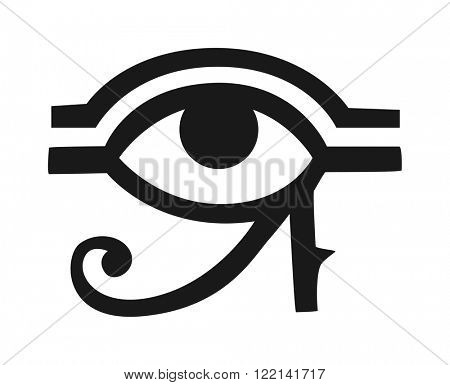 Egypt God Ra vector symbol. Sun EYE OF Egypt God Ra - reverse moon eye of Thoth. Egypt God Ra vector hand drawn set. Egypt God Ra isolated on white background. Egyptian symbol God Ra vector.