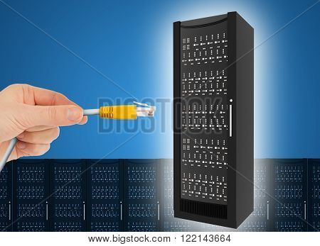 Hand holding computer cabel with iron box in sky, technology concept