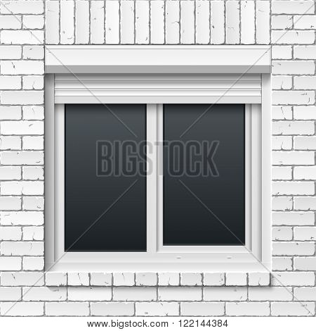 Brick masonry wall with window and rolling shutters. Vector illustration.
