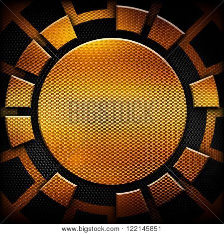 abstract gold metal with round pattern