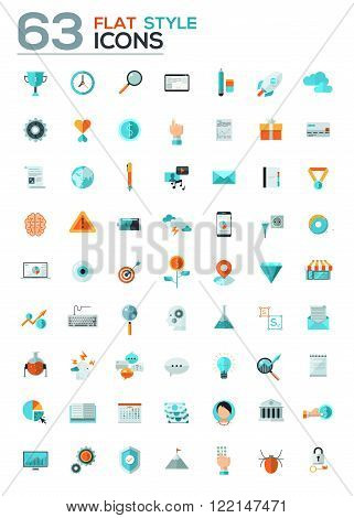 Modern flat icons vector collection in stylish colors of web design objects, business, office and marketing items. Isolated on white background.