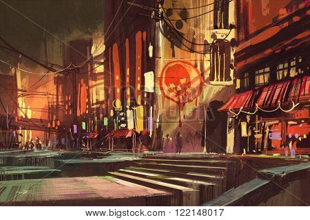 sci-fi scene showing shopping street, futuristic cityscape, illustration painting