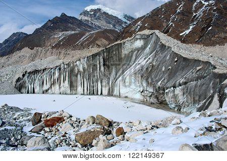 Ngozumba Glacier in Himalayas in Sagarmatha National Park, Nepal.