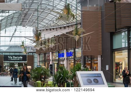 BOCHUM, NRW, GERMANY - JANUARY 11, 2016:  Shopping Mall of the Ruhr Park in Bochum. The shopping center Ruhr Park in Bochum is one of the largest in Germany.