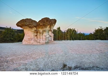 Panoramic view of  a rock formation The Stone Mushrooms near Beli plast village, Kardzhali Region, Bulgaria