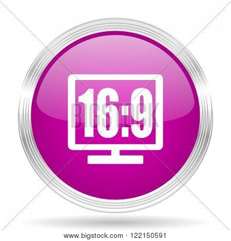 16 9 display pink modern web design glossy circle icon