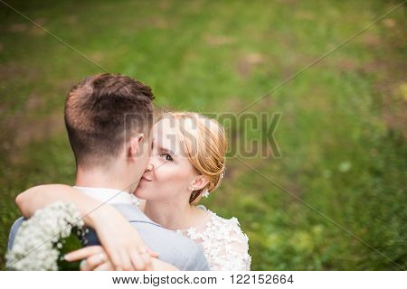 Couple outdoors enjoying a summery day  happy