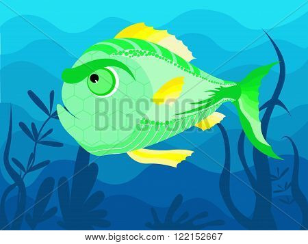Decorative green fish on the background of the seafloor