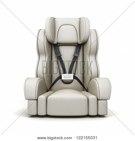 Baby car seat on white background. 3d rendering.