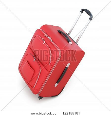 Red suitcase on wheels isolated on white background. With a retractable handle. 3d illustration