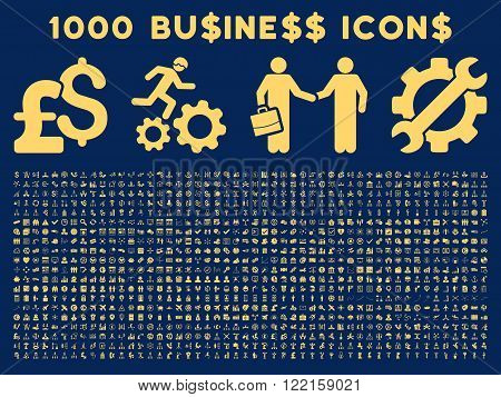1000 Business vector icons. Pictogram style is yellow flat icons on a blue background. Pound and dollar currency icons are used