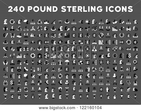 240 British Business vector icons. Style is bicolor black and white flat symbols on a gray background. Pound sterling icon is basic element.