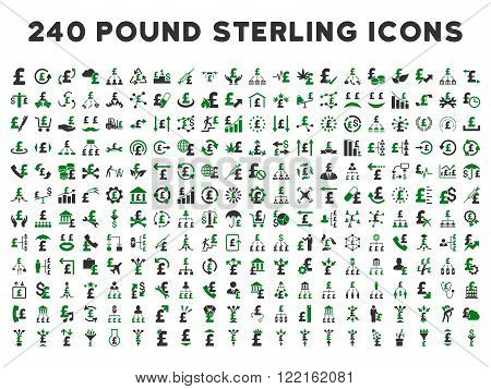 240 British Business vector icons. Style is bicolor green and gray flat symbols on a white background. Pound sterling icon is basic element.