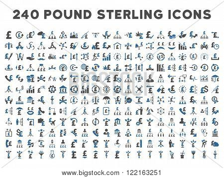 240 British Business vector icons. Style is bicolor cobalt and gray flat symbols on a white background. Pound sterling icon is basic element.
