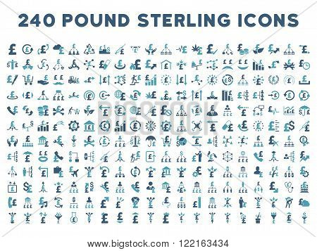 240 British Business vector icons. Style is bicolor cyan and blue flat symbols on a white background. Pound sterling icon is basic element.