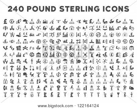 240 British Business vector icons. Style is gray flat symbols on a white background. Pound sterling icon is basic element.