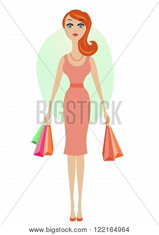 Happy shopping cartoon girl with shopping bags