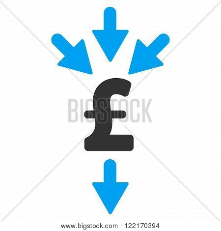 Pound Combine Payments vector icon. Flat isolated on white