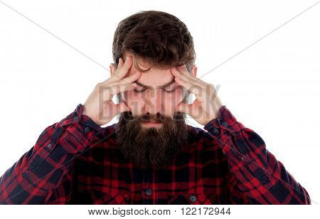 Handsome men with long beard covering ears isolated on a white background