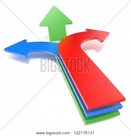 Three way arrows showing three different directions. Blue left red right and forward green arrows concept. 3D render illustration isolated on white background