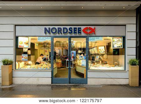 SALZBURG AUSTRIA - FEBRUARY 10 2016: A branch of the Nordsee fish restuarant in Salzburg Austria.