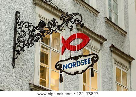 SALZBURG AUSTRIA - FEBRUARY 10 2016: A sign outside a Nordsee fish restuarant in Salzburg Austria.