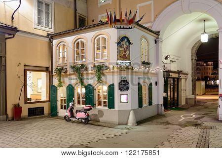 SALZBURG, AUSTRIA - FEBRUARY 10, 2016: The historic restaurant Eulenspiegel Salzburg.