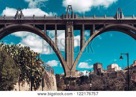 San Jordi (st. George's) Bridge In Alcoy City. Spain